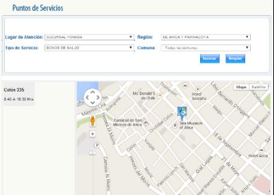 Fonasa direcci n mapa con horario fonasa y sucursales for Buscador de sucursales