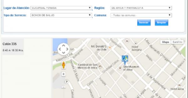 Fonasa direcci n mapa con horario fonasa y sucursales for Horario sucursales